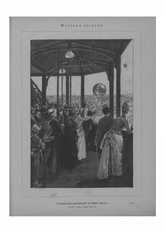 Wystawa światowa w Paryżu: puszczanie baloników z wieży Eiffla. Rysował z natury Czesław Jankowski