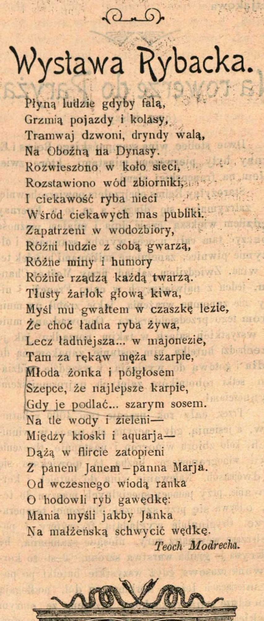 """Teoch Modrecha, mową wiązaną o wystawie rybackiej: """"Kolarz, Wioślarz i Łyżwiarz"""" , nr 82, 29.09.1900"""